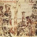 Строительство Святой Софии (миниатюра из хроники Константина Манассии)